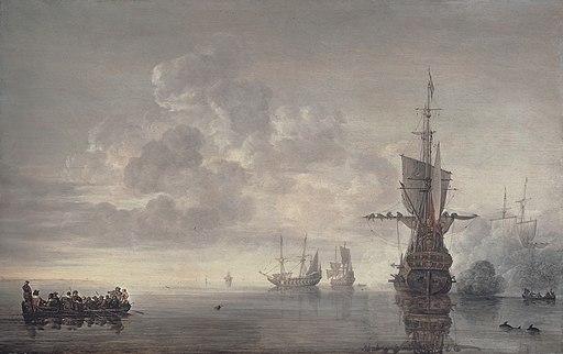 The flagship Aemilia fires a salut for Admiral Maerten Harpertsz Tromp, by Simon de Vlieger
