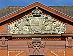 The fronton of a building near the train station. Schwerin, Germany.jpg