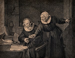 The Shipbuilder and his Wife - Etching by Johannes Pieter de Frey, dated 1800