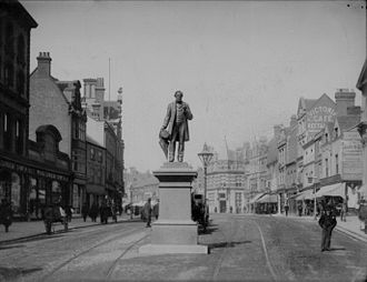 Statue of George Palmer - Image: The statue of George Palmer, Broad Street, Reading, c. 1890