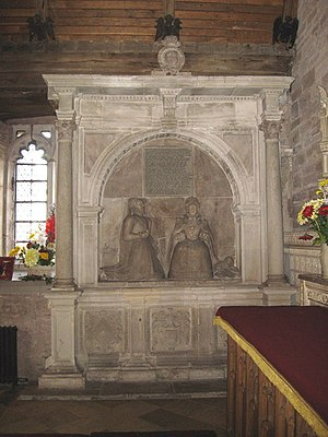 Blanche Parry - Empty tomb, Bacton. Blanche Parry on left, kneeling to Elizabeth I