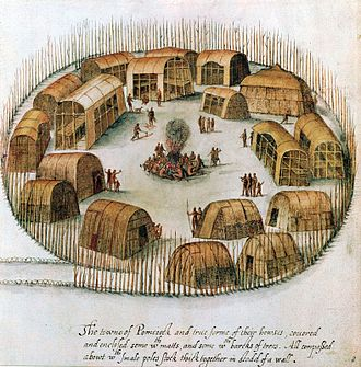 Algonquian peoples - A 16th-century sketch of the Algonquian village of Pomeiock.