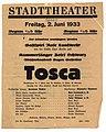 "Theaterzettel Stadttheater Graz, ""TOSCA"" 1933 Abschiedsabend f Eugen Goffriller.jpg"