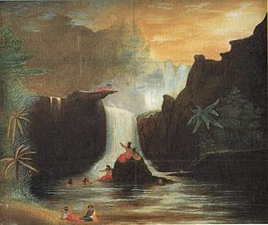 Theodore Heuck -  Nuuanu Falls, Honolulu, oil paint on paper by Theodore Heuck, c. 1855