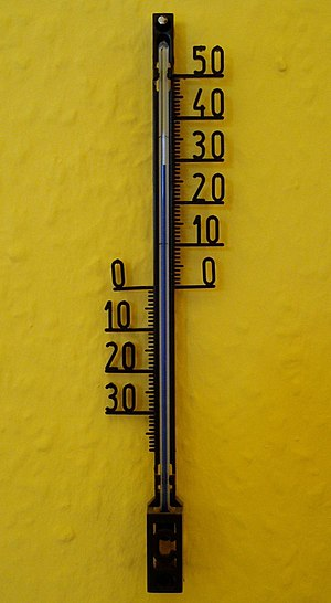 A domestic wall thermometer