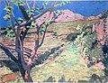 Thomas William Marshall - Montagne rose avec un arbre au premier plan (1912).jpg