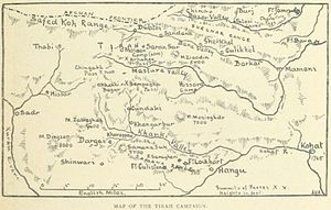 Tirah Campaign - A map of places and battles in the campaign