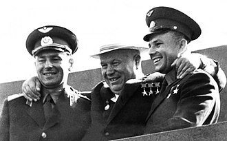 Gherman Titov - Titov, Nikita Khrushchev and Yuri Gagarin at Red Square in Moscow, 20 November 1961