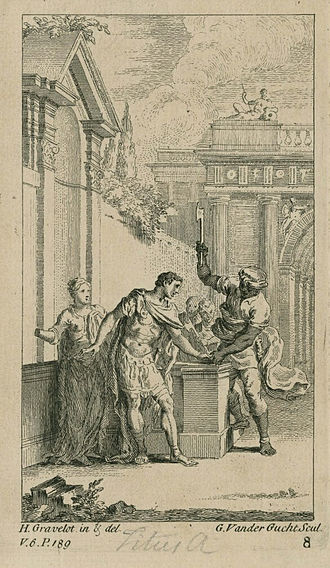 Titus Andronicus - Gravelot illustration of Aaron cutting off Titus's hand in Act 3, Scene 1; engraved by Gerard Van der Gucht (1740)