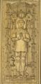 Tombe de cuivre jaune vis a vis le Crucifix dans la nef de N. D. dans le Chasteau de Loches. -- Sous cette tombe est aussi enterré Ludovic Sforce Duc de Milan.png