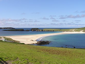 Tied island - St Ninian's Isle, a tied island during all but the very highest tides.