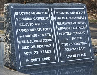 Frank Forde - Frank Forde's headstone at Brisbane's Toowong Cemetery.