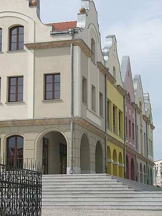 Głubczyce - Image: Town Hall in Głubczyce View on adjacent apartment buildings