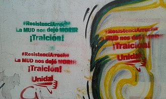 2017 Venezuelan protests - Graffitis expressing anger at the Unity Roundtable on October 5.