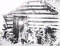 Trappers cabin on east end of Fourmile Lake used by FS Cruisers. Kelly Scheck in picture. 1914 (5187514737).jpg