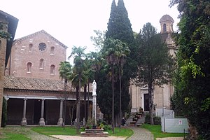 Tre Fontane Abbey - The square in the front of two churches: Santa Maria Scala Coeli (right) and Santi Anastasio e Vincenzo (left)