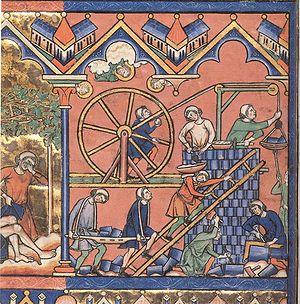 Treadwheel crane - A 13th century drawing of a treadwheel crane