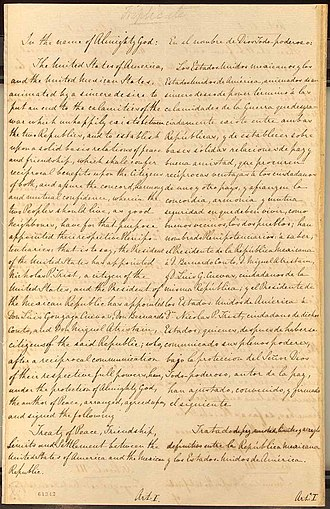 Treaty of Guadalupe Hidalgo - A section of the original treaty