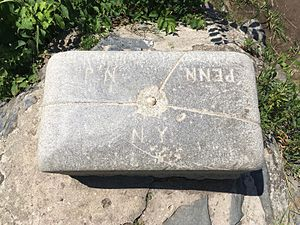 Montague Township, New Jersey - Top of the Tri-States Boundary Marker with the bronze National Geodetic Survey marker vandalized off, showing the state line engraving.