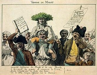 "Jean-Paul Marat - ""Marat's Triumph"": a popular engraving of Marat borne away by a joyous crowd following his acquittal."