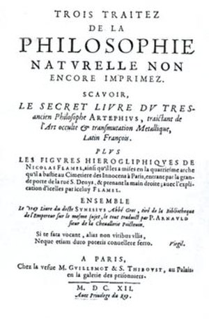 Nicolas Flamel - First edition cover of the book of the hieroglyphic figures, not published until 1612.