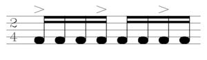Coladeira - Rhythmic model of the slow coladeira, ± 96 bpm.