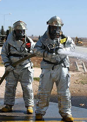 MOPP - Turkish Firefighters in MOPP 4 level gear during an exercise held at Incirlik Air Base, Turkey