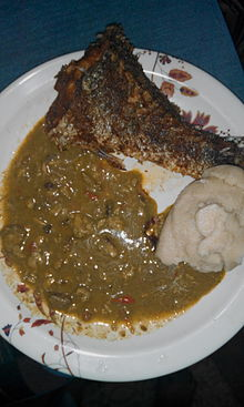 Tuwo with miyan kuka and fried fish.jpg