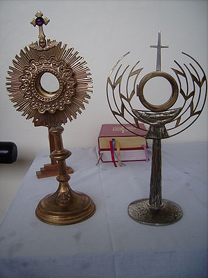 Monstrance - Two monstrances, showing the contrast between the modern simplified design on the right with its more ornate predecessor on the left