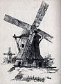 Two windmills (in the Netherlands?). Pencil drawing (by Lill Wellcome V0025435.jpg