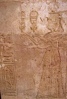 Twosret playing the sistrum at Amada Temple, Nubia