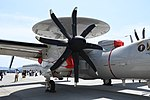 U.S.NAVY E-2D Advanced Hawkeye(168991) of VAW-125 T56-A-427A turboshaft engine right front view at MCAS Iwakuni May 5, 2018 01.jpg