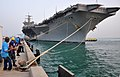 U.S. Sailors heave in mooring lines from the aircraft carrier USS Enterprise (CVN 65) as the ship arrives in Manama, Bahrain, for a routine port visit May 20, 2012 120520-N-SC392-015.jpg