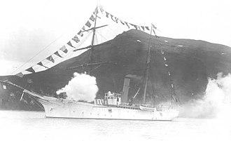 Bering Sea Anti-Poaching Operations - USRC Rush firing a salute off Sitka in 1901.