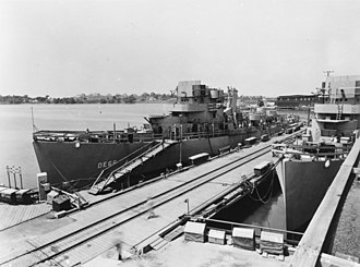 USS Amesbury (DE-66) - Amesbury fitting out in 1943.