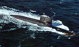 USS George Washington (SSBN-598) underway at sea, circa in the 1970s