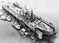 The battleship USS Iowa uses a floating dry dock during World War II.