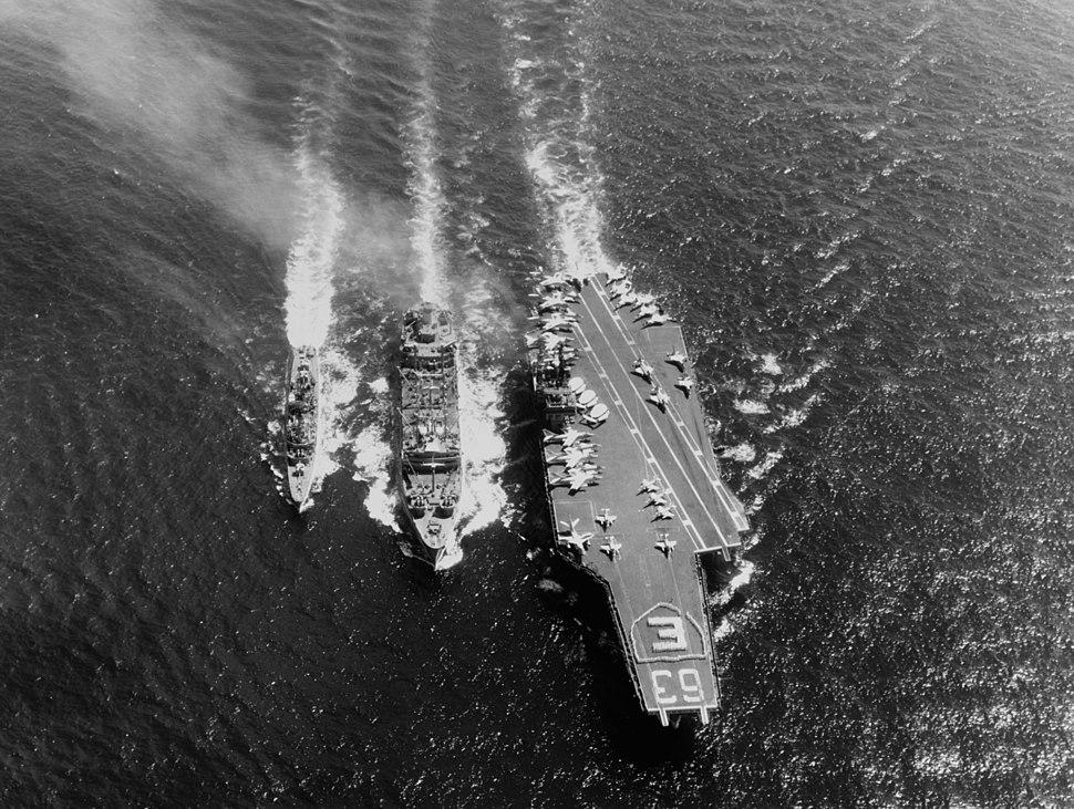 USS Kitty Hawk (CVA-63) and USS Turner Joy (DD-951) refueling from USS Kawishiwi (AO-146) on 23 April 1964