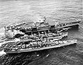 USS Severn (AO-61) refuels the USS Forrestal (CVA-59) and USS Des Moines (CA-134) in the Atlantic Ocean on 11 November 1956.jpg