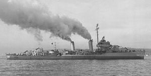 USS Stockton (DD-646) broadside view c1943.
