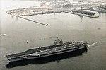 USS Theodore Roosevelt (CVN-71) leaving harbour 1988.jpg