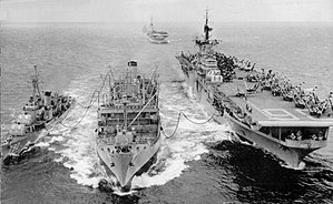 Shelton (DD-790) and Antietam (CV-36) being refueled from the fleet oiler Tolovana (AO-64)