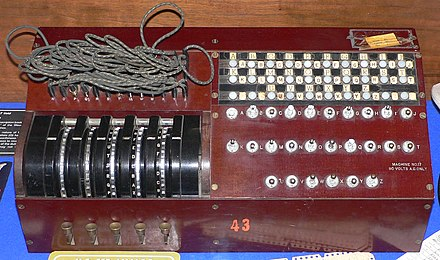 US Enigma replica on display at the National Cryptologic Museum in Fort Meade, Maryland, USA. - Enigma machine