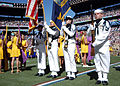 US Navy 050213-N-3019M-006 A Naval Station Pearl Harbor, Hawaii ceremonial color guard parades the colors during the playing of the National Anthem at the 2005 NFL Pro Bowl, held in Honolulu, Hawaii.jpg