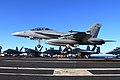 US Navy 061208-N-8158F-262 Commander, Strike Force Training Pacific, Rear Adm. Gerald R. Beaman, makes a successful arrested landing in an F-A-18 Super Hornet assigned to the.jpg