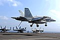 US Navy 070520-N-5484G-035 An F-A-18A Hornet, assigned to the Red Devils of Marine Strike Fighter Squadron (VMFA) 232, lands on the flight deck of the nuclear-powered aircraft carrier USS Nimitz (CVN 68).jpg