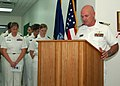 US Navy 070528-N-7095C-002 Capt. Donald F. Lerow, U.S. Naval Forces Central Command-U.S. 5th Fleet Force chaplain, reads the invocation for a dedication ceremony at the Lt. Kylan Jones-Huffman Memorial Library.jpg