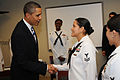 US Navy 091026-N-1522S-016 President Barack Obama meets with Yeoman 2nd Class Sindy Indacochea Teran during a visit to Naval Air Station Jacksonville.jpg