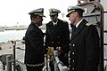 US Navy 091208-N-9806M-107 Vice Adm. Mel Williams Jr., commander of U.S. 2nd Fleet, congratulates Commodore Paul L. McElroy, commander of Amphibious Squadron (PHIBRON) 2, and Capt. Sam Howard.jpg
