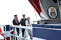 US Navy 110326-N-3245F-007 Joyce Rumsfeld, wife of former Secretary of Defense Donald Rumsfeld, christens the amphibious transport dock ship Pre-Co.jpg